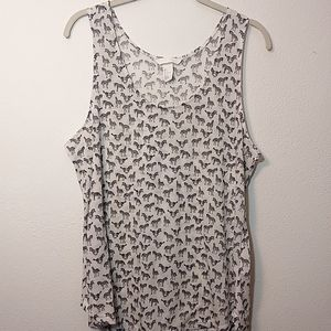 H&M Zebra Print Crew Neck Tank Top Large